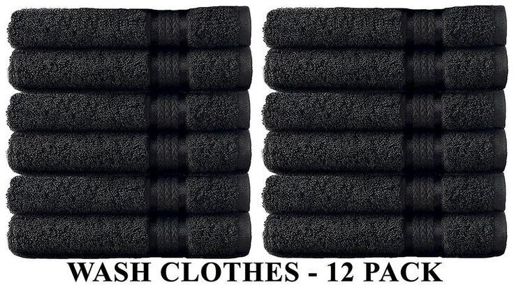 Bathroom Towel Set Wash Cloths Hand Towels Soft Cotton Bath Hotel Washcloth #CottonCraft
