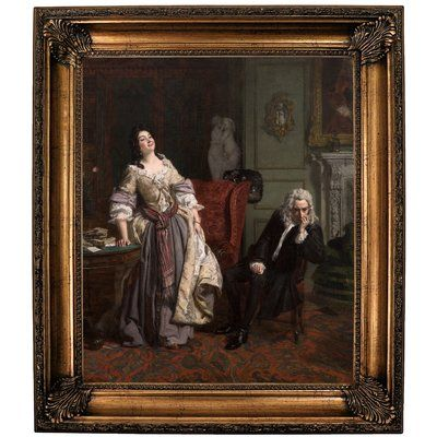 Historic Art Gallery 'Pope Makes Love to Lady Mary Wortley Montagu 1852' Framed Print on Canvas Format: