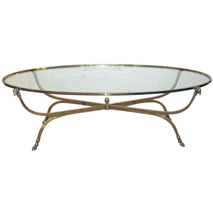 Quality French Brass Oval Coffee Table With Glass Top, By Maison Jansen,  Paris