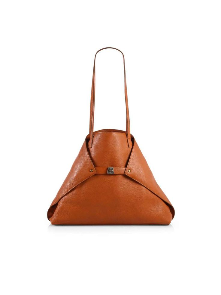 Looking at folding and fastening to inspire my multifunctional design // Akris Ai Medium Leather Tote