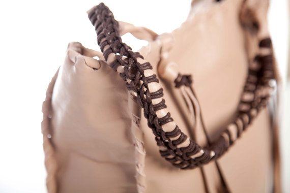 BeigeTote Bag  Macrame Handles  Italian Leather by EleannaKatsira, €270.00