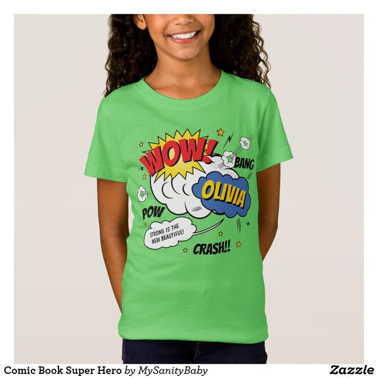 Comic Book Super Hero T-Shirt - Very special personalized super hero t-shirt comic book style. Because strong is the new beautiful.