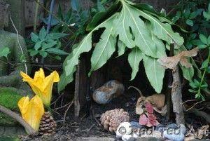 Fairy or elf house with bark walls