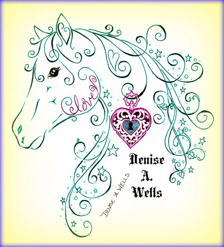 Love Horse with Locket Tattoo Design by Denise A. Wells