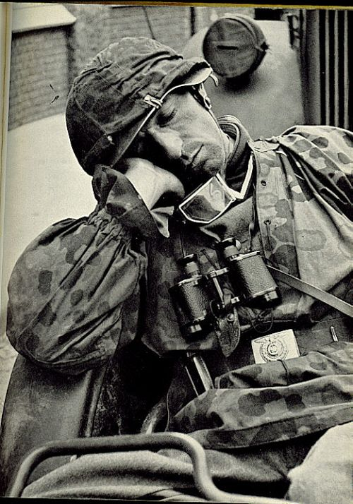 Quick nap for a Waffen SS grenadier in full camouflage kit ...