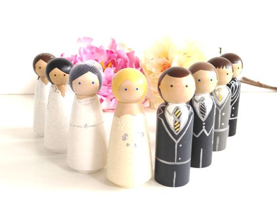 Fully Custom Wedding Cake Topper Bride Groom Wood Peg Doll Anniversary Keepsake Personalized Beautiful Hand Painted Figurines Family Cute