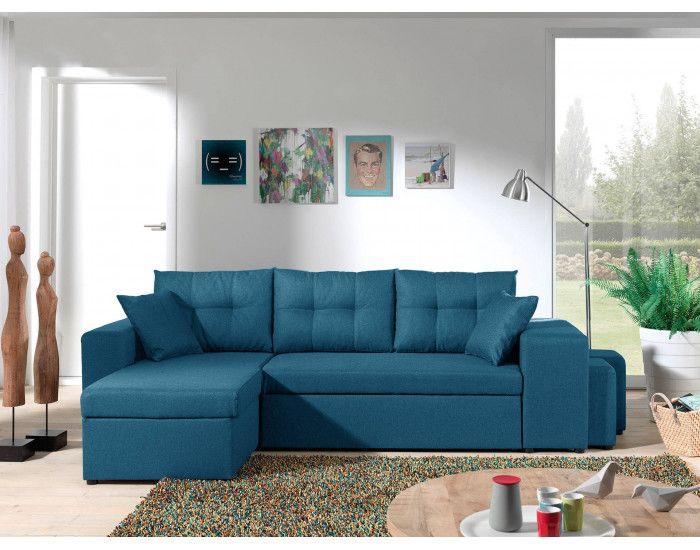 California Canape D Angle Reversible Et Convertible Avec Coffre De Rangement 246x85x145cm Bleu Canard Canape Angle Meuble Gifi Canape Angle Convertible