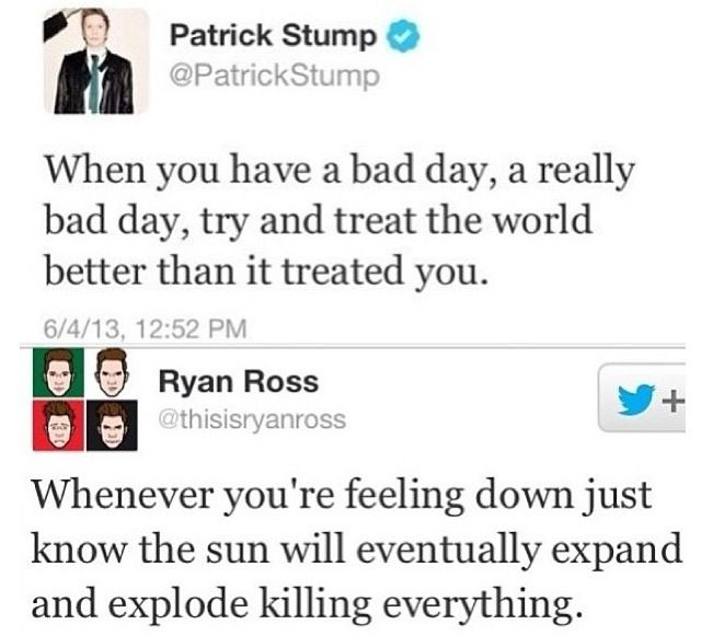 The difference between Patrick Stump from Fall Out Boy and Ryan Ross from Panic! At The Disco. Yay for Patrick