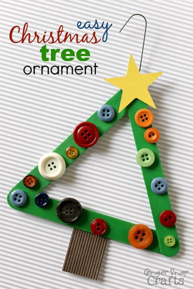 Button and lolly pop stick Christmas tree