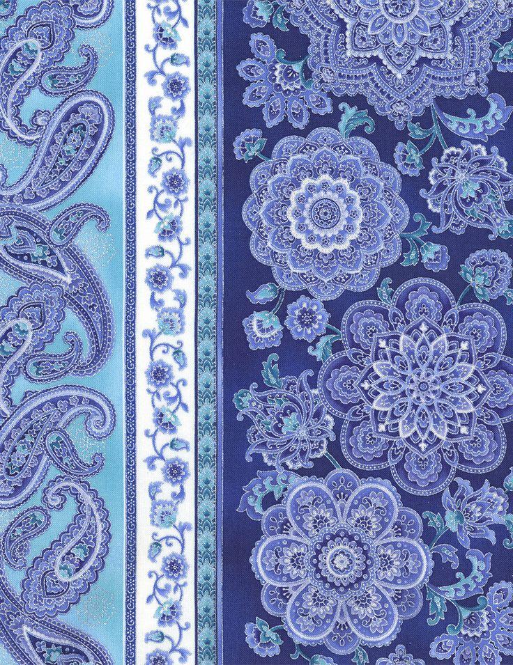 Timeless Treasures - Dutchess Dutchess-CM5232-Blue 11″ Medallion Stripe