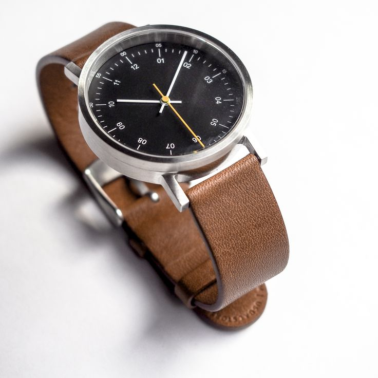 Usual Collective Time Teller 36 Black dial - Brown Leather strap