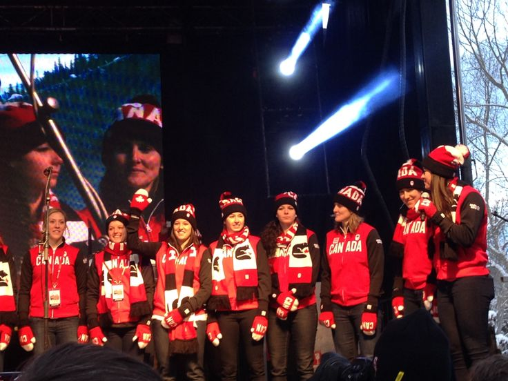 The Canadian women's Olympic hockey team in Banff before heading to Sochi to grab the gold