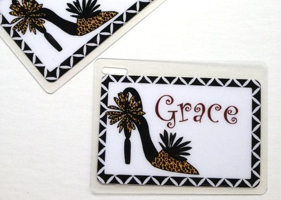 Lugguage Tag Personalized Cheetah Shoe Bag Tag Shoe by Toddletags