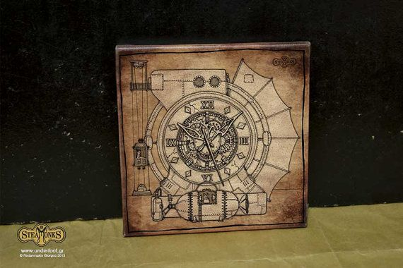 Steamonks Clock  Canvas Print by UnderfootStuffWeLove on Etsy
