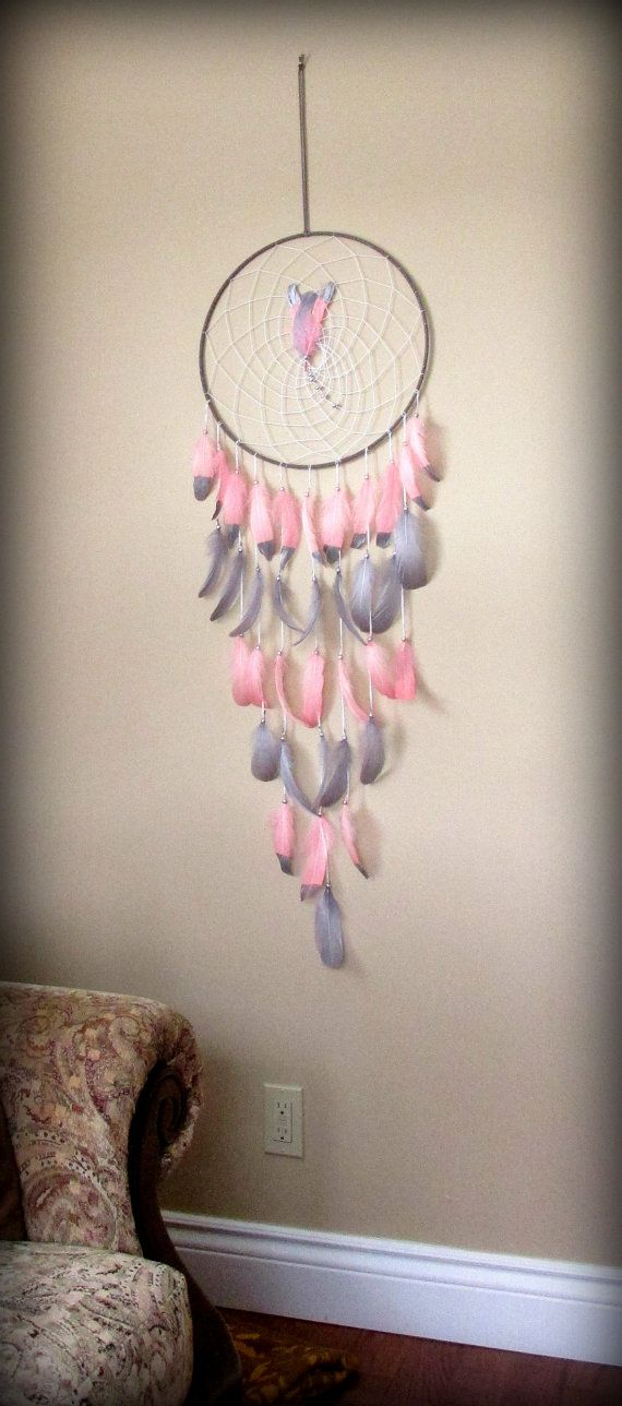 Blush pink coral and Gray Baby Mobile Dream catcher by FineBubbles