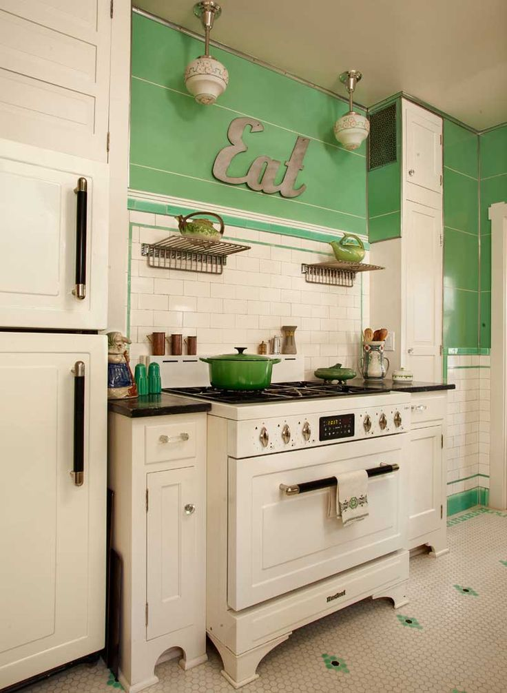 superb Art Deco Style Kitchen Cabinets #9: 1960s kitchen interior.