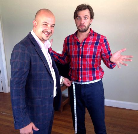 """Germanicos Bespoke Tailors' John Tellis, with """"The Voice"""" host and GQ best dressed man of the year Darren McMullen, getting ready to rock his bespoke tuxedo for the """"Logies"""", wait and see people!! http://www.tailor.com.au/blog/darren-mcmullen-being-measured-his-bespoke-tuxedo-logies"""
