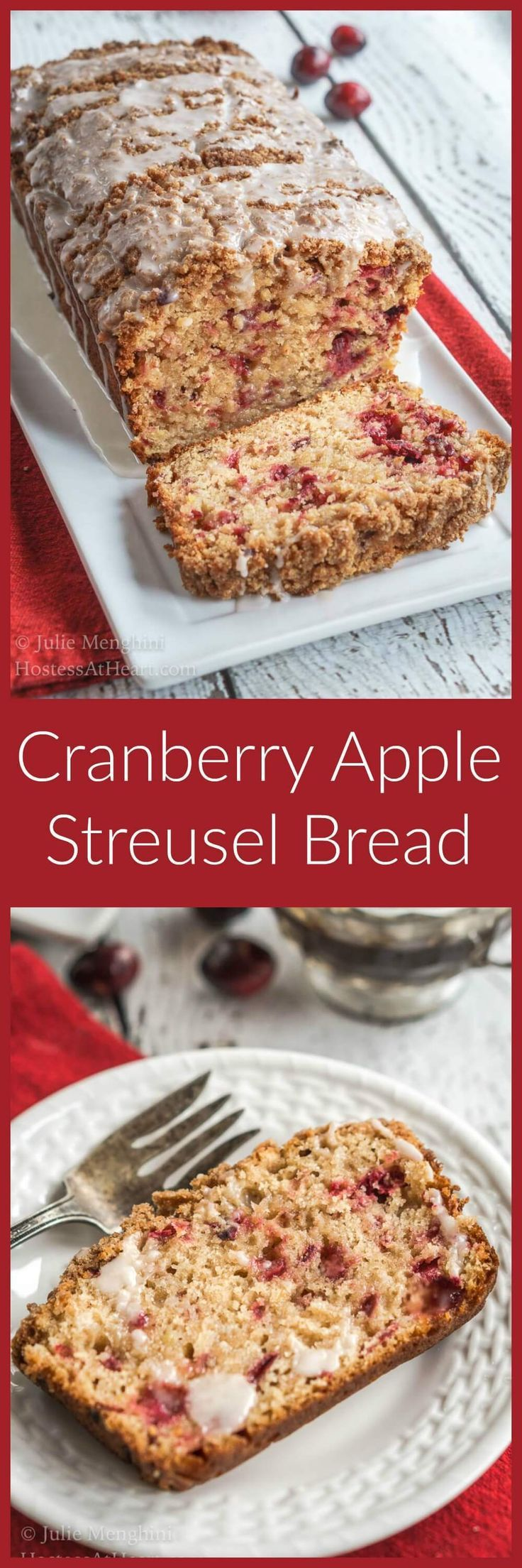Cranberry Apple Streusel Bread has a delicious soft center dotted with cranberry and apple. This bread is topped with a thick cinnamon brown sugar streusel. | http://HostessAtHeart.com