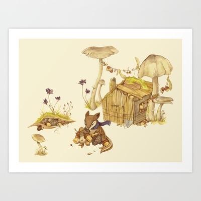 Harvey the Greedy Chipmunk Art Print by Teagan White - $17.00