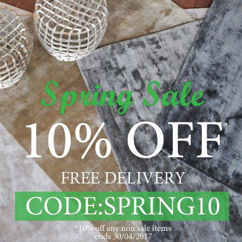 Apply code SPRING10 to your shopping cart at www.therugswarehouse.co.uk for 10% OFF any non- sale rug or hall runner (ends 30.04.17).
