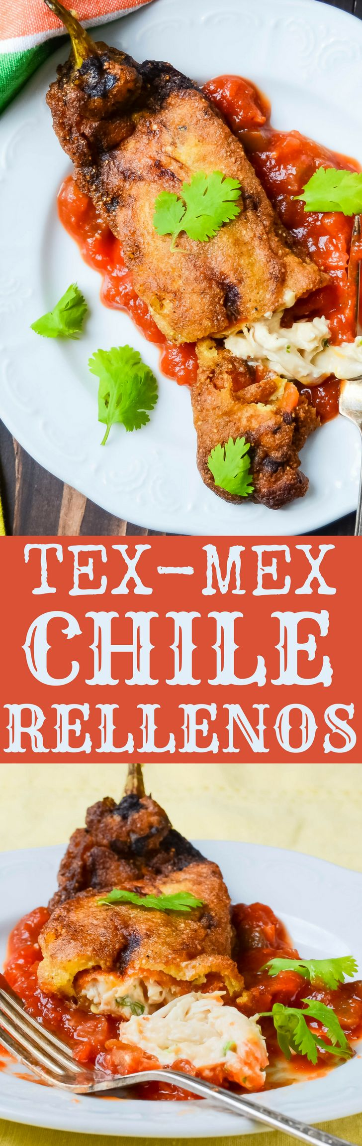 This stuffed chile rellenos recipe uses fire roasted hatch chiles and cheesy chicken filling with a simple chile relleno batter. Tex-Mex Chicken Chile Rellenos are crispy, tender and delicious. #chiles #chilerellenos #chilerellenosrecipe #chicken #stuffedpeppers #friedpeppers #friedchiles #texmex #cincodemayorecipes #stuffedfriedchiles #rellenos #cheese #creamcheese #cheddarcheese #chilerellenobatter #stuffedchilerellenosrecipe via @GarlicandZest