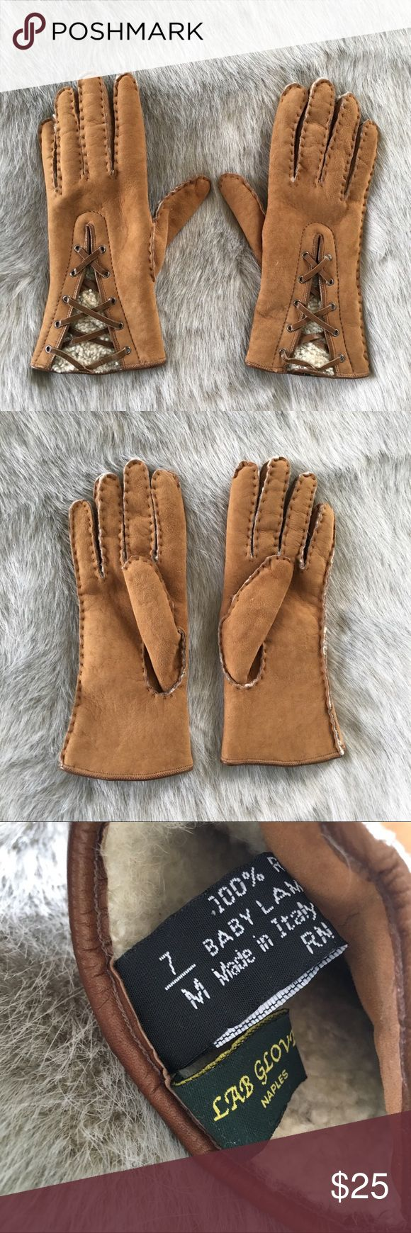 Italian Leather Gloves - Size 7 Baby Lamb Skin Lined Gloves. Genuine Leather  In great condition Lab Gloves Accessories Gloves & Mittens