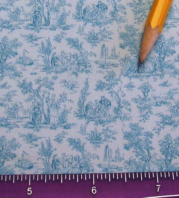 NEW Dollhouse Miniature Victorian UPHOLSTERY FABRIC Aqua Toile Playscale 1/24th 1/12th