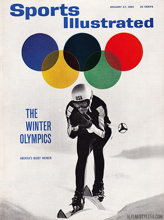 Fantastic Sports Illustrated cover featuring Buddy Werner for the 1964 Winter Olympics in Innsbruck, Austria. Photo: Richard Jeffrey