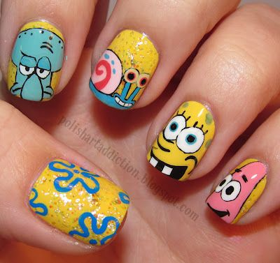 Spongebob Squarepants nails: Polish Art, Nails Art, Nailart, Spongebob Squarep, Nails Design, Sponge Bobs, Nailsart, The Sea, Spongebob Nails
