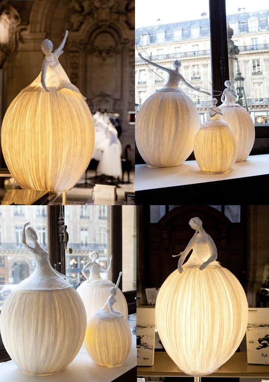 Incredible sculptures/lamps entirely made of paper by Sophie Mouton-Perrat and Frédéric Guibrunet