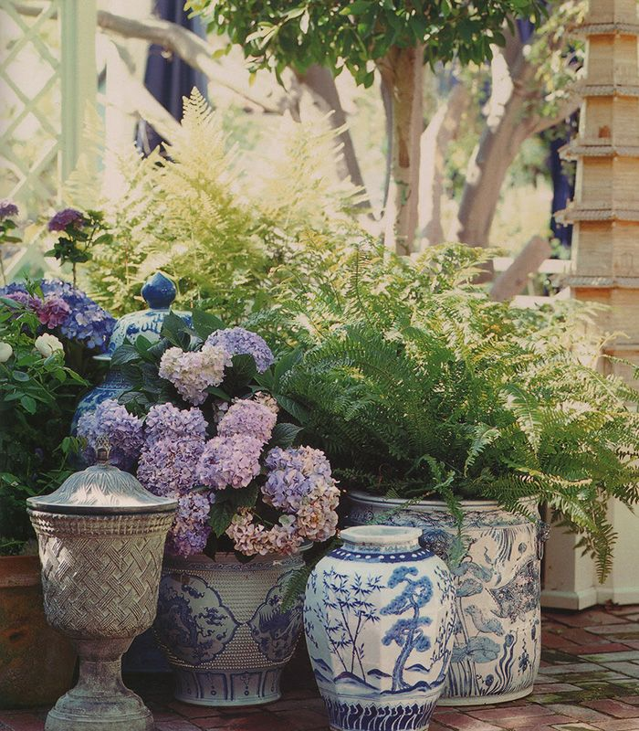 Blue and White + Purple | gorgeous chinoiserie porcelains, ferns and hydrangeas. What could be better?