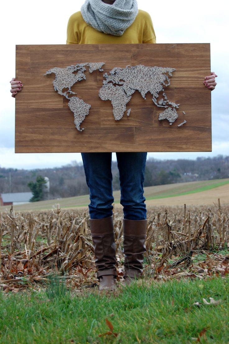 World map string art DIY