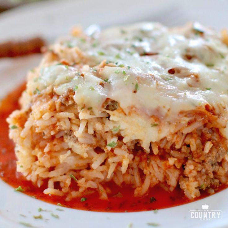 Lasagne gemaakt met rijst in plaats van noedels