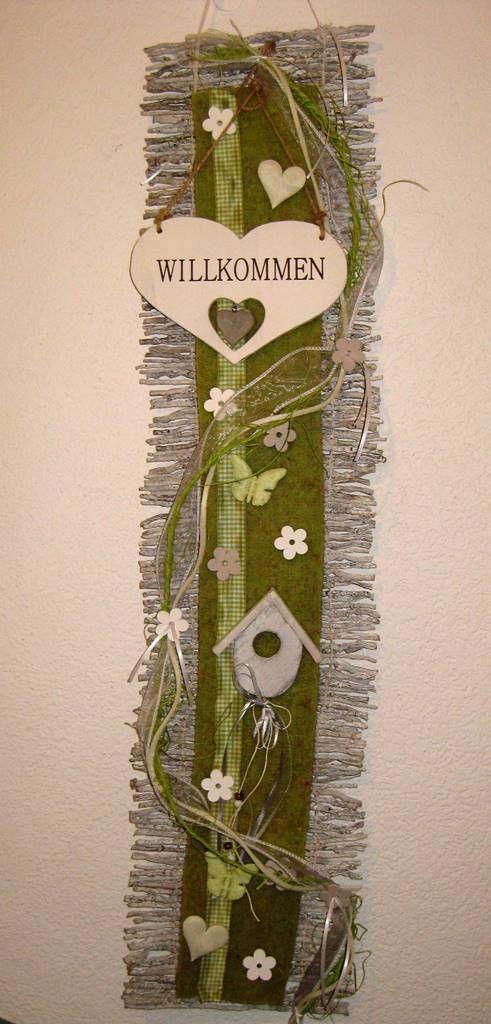 Türkranz Kranz Frühling Türschmuck Filz Willkommen Rebenmatte Türdeko Herz grün in Möbel & Wohnen, Dekoration, Außen- & Türdekoration   eBay