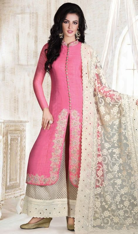 Influence a fresh adulation and sparkle to your individualism draped in this pink embroidered cotton silk palazzo suit. This appealing attire is showing some fantastic embroidery done with floral patch, moti, resham and sequins work. #NewHeavyPinkSuitWithCottaonLace