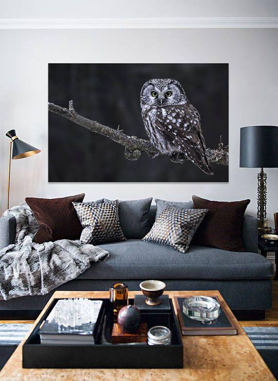 Handmade Hunting Owl Canvas Ideal Livingroom Decoration To Impress With Elegancy Handmade Canvas Dark An Living Room Inspiration Living Room Decor Decor