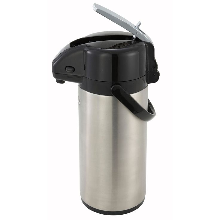 This stainless steel server from Winco has a 3-liter capacity with a vacuum-sealed liner for optimum insulation to keep beverages hot for at least 10 hours. It features a black lever-top dispenser for regular coffee.