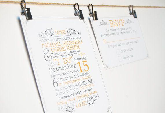 Bohemian Yellow and Grey Wedding Invitation by SimpleSimonDesign, $40.00