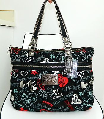 COACH POPPY GRAFFITI GLAM 16052 JACQUARD BLACK MULTI SHOULDER BAG PURSE TOTE