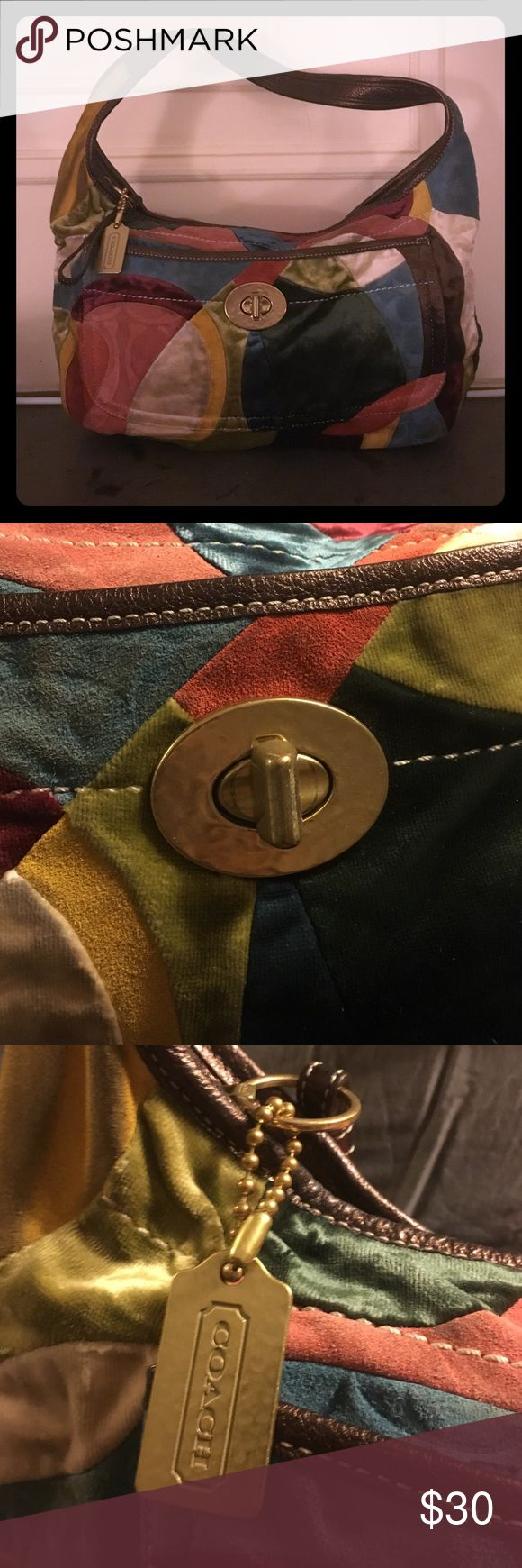 Patchwork Coach Hobo Logo velvet patchwork coach hobo bag Coach Bags Hobos