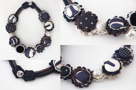 Navy blue and white necklace statement nautical by rRradionica