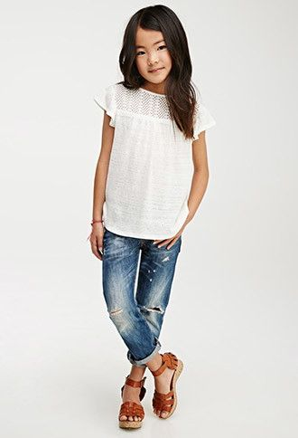 Crochet-Paneled Blouse (Kids) | Forever 21 girls - 2000052550