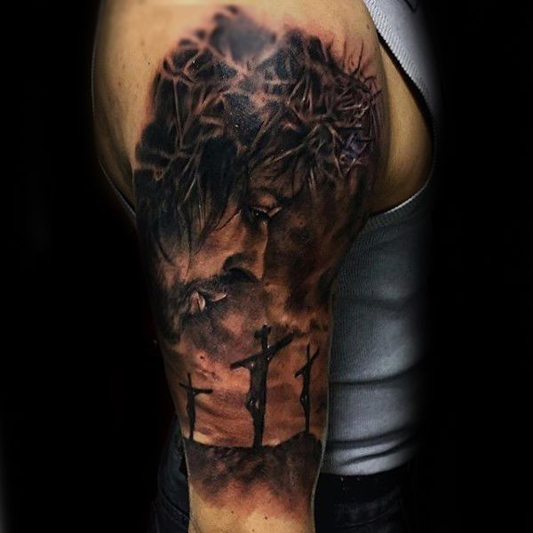 Crucifix Mens Jesus Half Sleeve Tattoo
