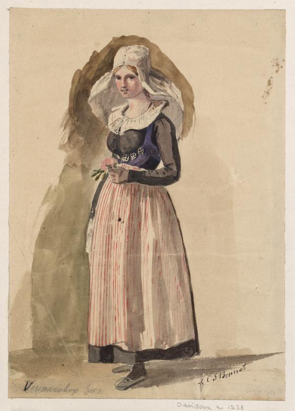 """""""Ung kvinna från Vemmenhögs härad"""" av Carl Stefan Bennet, någon gång mellan 1820-78. Uppsala Universitetsbibliotek, inventarienummer 34691"""