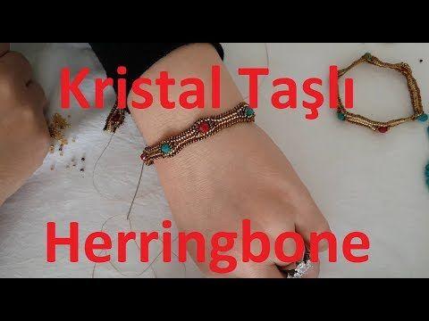 Kristal taşlı herringbone bileklik nasıl yapılır? #DIY - YouTube