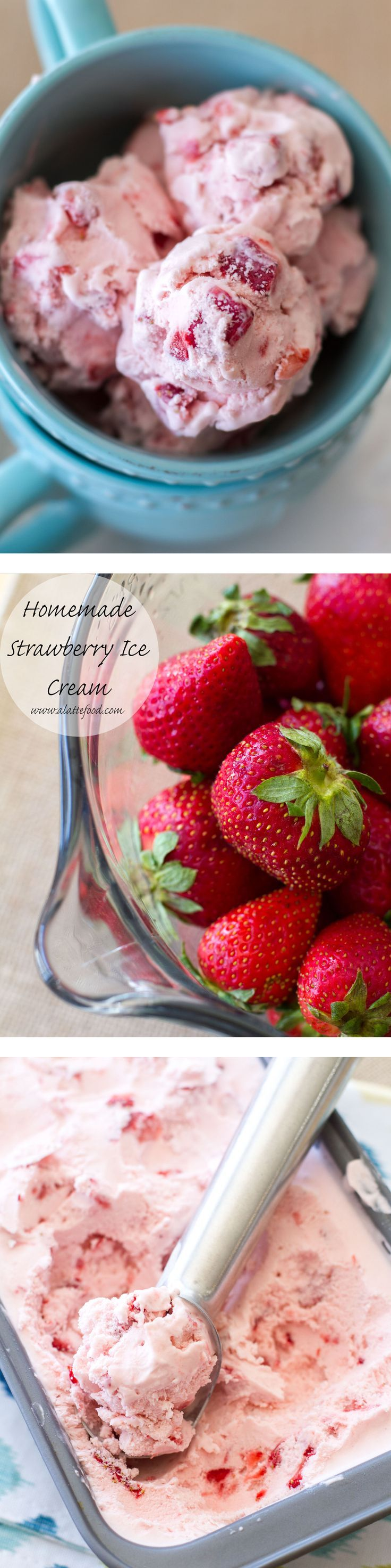This homemade ice cream is creamy, dreamy, and made with fresh strawberries. It is so delicious! | www.alattefood.com (Strawberry Dessert Recipes)