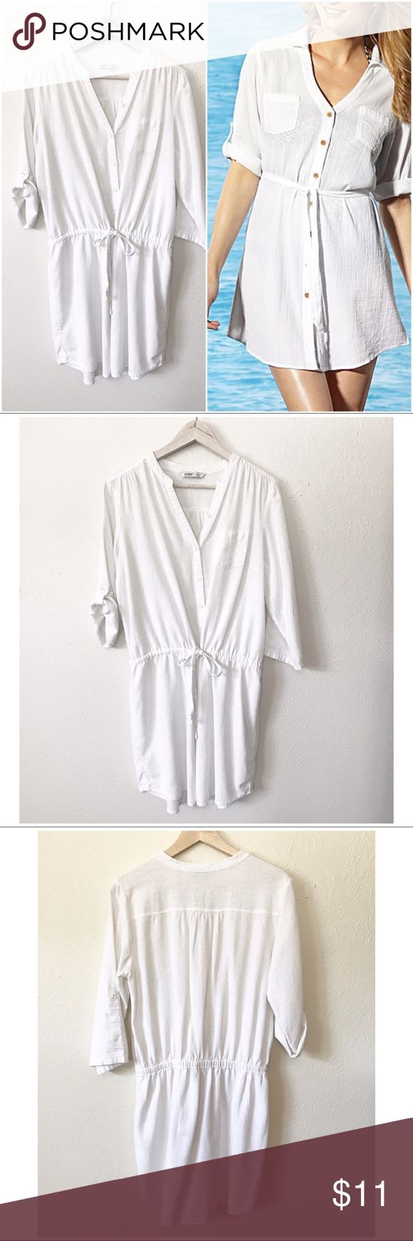 Old • Navy • Dress • Coverup Adorable white button down dress with waist drawstring tie. Sleeves can be worn long or 3/4 sleeve with button closure. It's a dress that can also be worn as a cute swimsuit coverup. Stock pic is not original dress/coverup, used for example only. Measurements pictured.  🔶Brand • Old Navy.  🔶Size • Large.  🔶Fabric • 55% linen 45% rayon.  🔶Condition • Worn maybe 3 times as a dress, not used for a coverup, laundered, does have a slight pull in fabric as shown in…