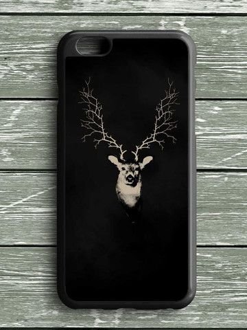 Black White Deer Head iPhone 6S Plus Case