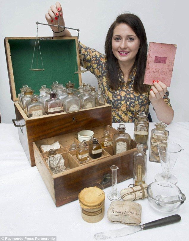 1800's medicine set, found at a house in Derbyshire, contains medicines, scales and mixing bowls