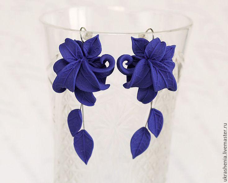 Polymer clay earrings / Кулон серьги и украшение для волос синего цвета из полимерной глины. - синий, королевский синий